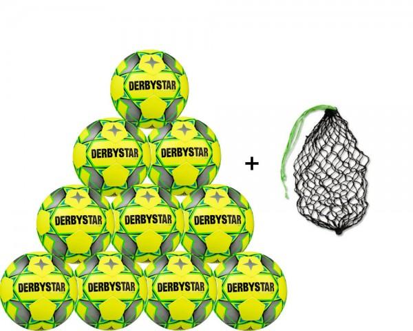 Derbystar Futsal Basic Pro Trainingsball 10er Ballpaket inkl. Ballnetz