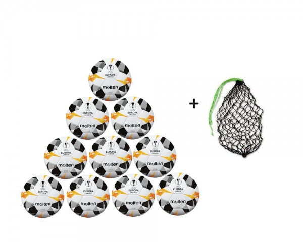 Molten Fußball Replica UEL 2019 Weiß/Orange/Schwarz Gr.4- 10er Ballpaket inkl Ballnetz