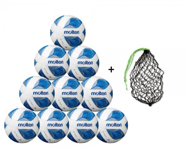 Molten Fußball Wettspielball F5A3700 - 10er Ballpaket inkl. Ballnetz