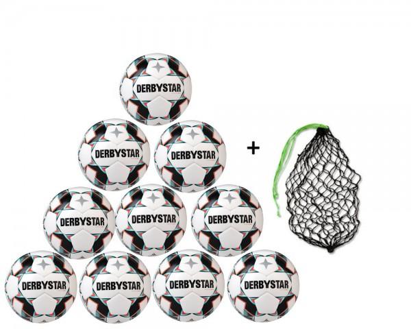 Derbystar Fußball Junior S-Light Jugend-Trainingsball 10er Ballpaket inkl. Ballnetz