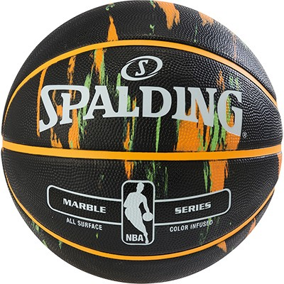 Spalding Basketball NBA Marble - schwarz/orange/grün