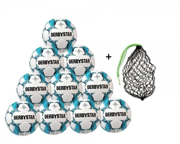 Derbystar Fußball Brillant TT DB Top-Trainingsball 10er Ballpaket inkl. Ballnetz