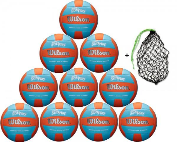 Wilson Volleyball Super Soft Play Outdoor - 10er Ballpaket inkl. Ballnetz