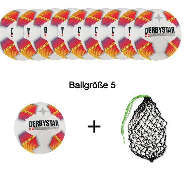 Derbystar Fußball Stratos Pro S-Light Ballpaket (10 Bälle+Ballnetz)