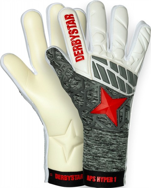 Derbystar Torwarthandschuhe APS Hyper I weiss/grau/rot