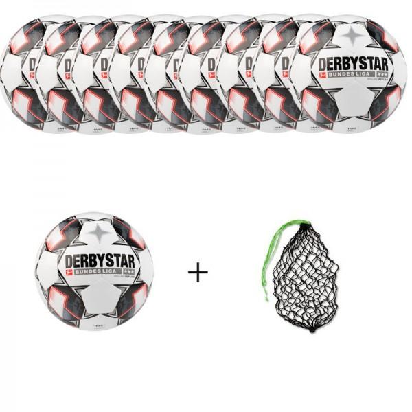 Derbystar Fußball Bundesliga Brillant Replica Gr. 5 Ballpaket (10 Bälle+Ballnetz)