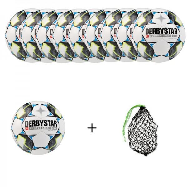 Derbystar Ballpaket Fußball Bundesliga Brillant Light (10 Bälle+Ballnetz)