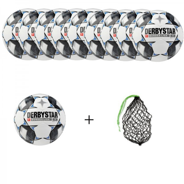 Derbystar Fußball Bundesliga Magic Light Ballpaket (10 Bälle+Ballnetz)