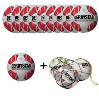 Derbystar Fußball Atmos TT Fußballpaket (10 Bälle+Ballnetz)