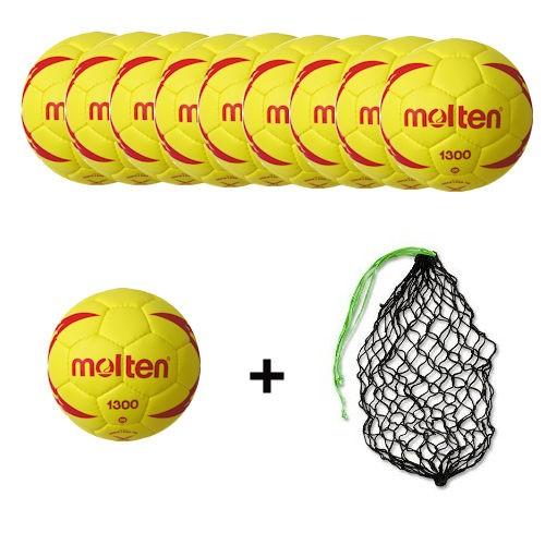 Molten Softhandball H00X1300-YR Ballpaket (10 Bälle + Ballnetz)