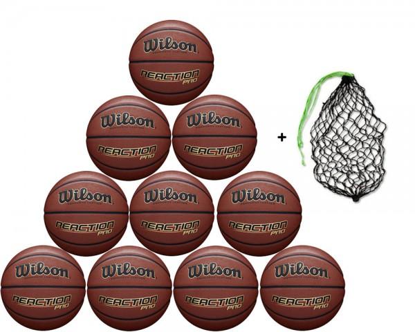Wilson Basketball Reaction Pro - 10er Ballpaket inkl. Ballnetz