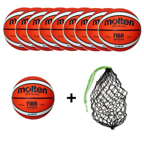 Molten Basketball BGR6-Ol Ballpaket (10 Bälle + Ballnetz)