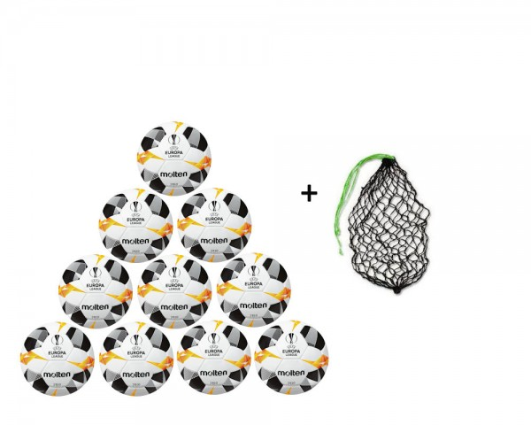 Molten Fußball Replica UEL 2019 Weiß/Orange/Schwarz Gr.5-10er Ballpaket inkl Ballnetz