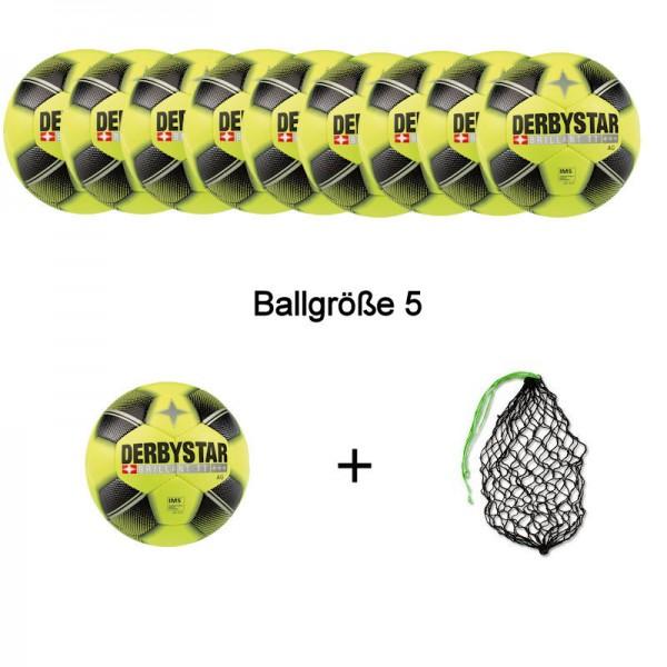 Derbystar Fußball Brillant TT AG Gr. 5 Ballpaket (10 Bälle+Ballnetz)