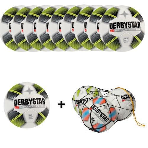Derbystar Fußballpaket Brillant TT weiß/schwarz/gelb Gr. 5 (10 Bälle+Ballnetz)