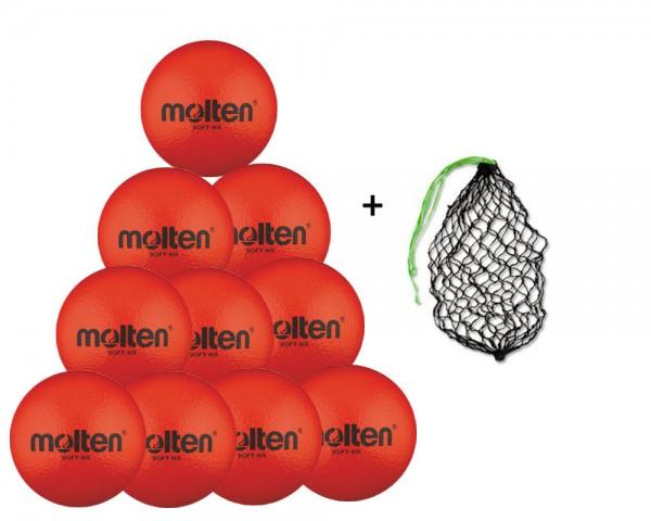 Molten Softball Soft-HR 10er Ballpaket inkl. Ballnetz