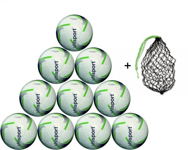 Uhlsport Fußball 290 Ultra Lite Synergy 10er Ballpaket inkl. Ballnetz