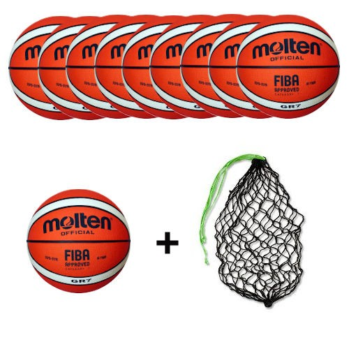 Molten Basketball BGR7-Ol Ballpaket (10 Bälle + Ballnetz)