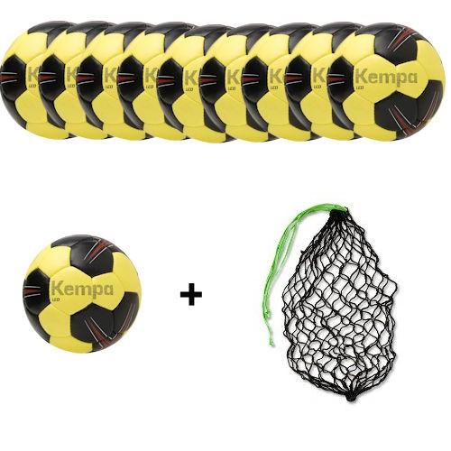 Kempa Handball Leo black/lime yellow/red Ballpaket (10 Bälle + Ballnetz)