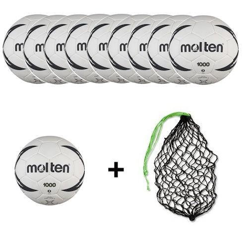 Molten Handball H3X1000 / H2X1000 / H1X1000 / H0X1000 Ballpaket (10 Bälle + Ballnetz)