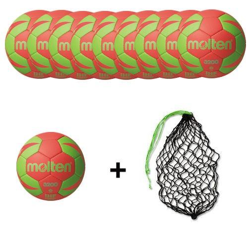 Molten Handball H3X3200 / H2X3200 / H1X3200 / H0X3200 -RG2 Ballpaket (10 Bälle + Ballnetz)