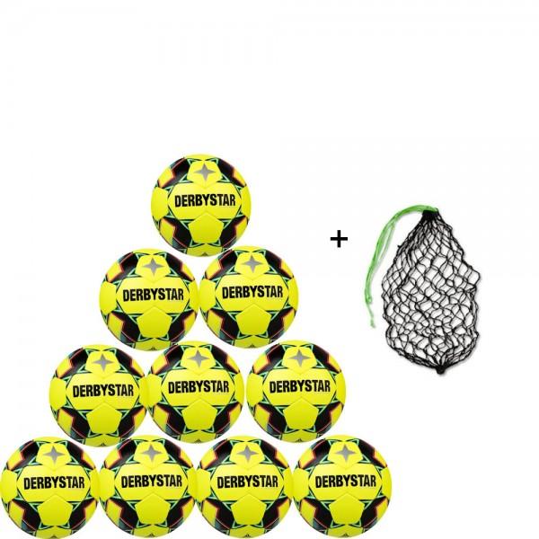 Derbystar Futsal Brillant TT Top-Trainingsball 10er Ballpaket inkl. Ballnetz