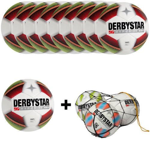 Derbystar Fußball Hyper TT Gr. 5 Ballpaket (10 Bälle+Ballnetz)