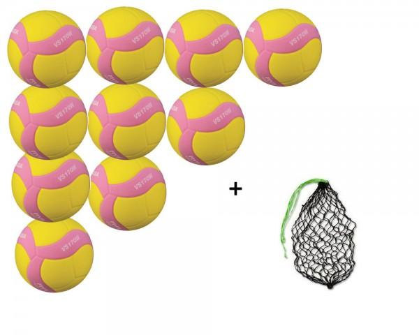 Mikasa Volleyball VS170W-Y-P -1137 10er Ballpaket inkl. Ballnetz