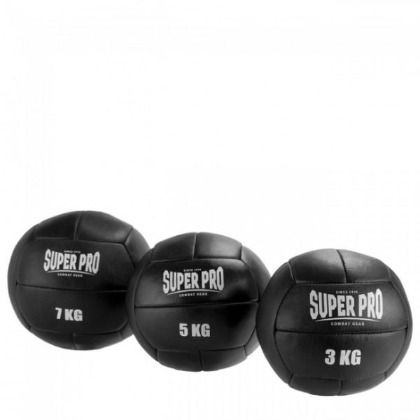 Super Pro Medizinball Leder schwarz