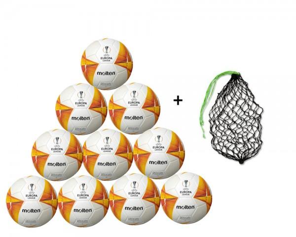 Molten Fußball UEFA Europa League F5U5000-GO 10er Ballpaket inkl. Ballnetz
