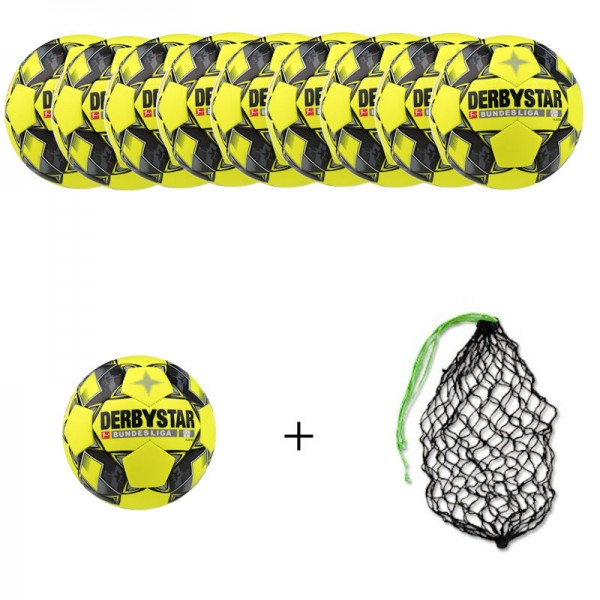 Derbystar Fußball Bundesliga Player Gr.5 Ballpaket (10 Bälle+Ballnetz)