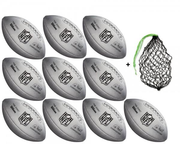 Wilson Football NFL Duke Metallic - 10er Ballpaket inkl. Ballnetz
