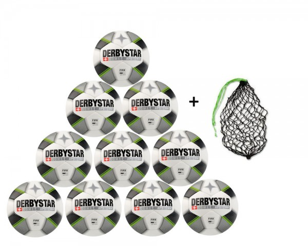Derbystar Fußball Comet APS - 10er Ballpaket inkl Ballnetz