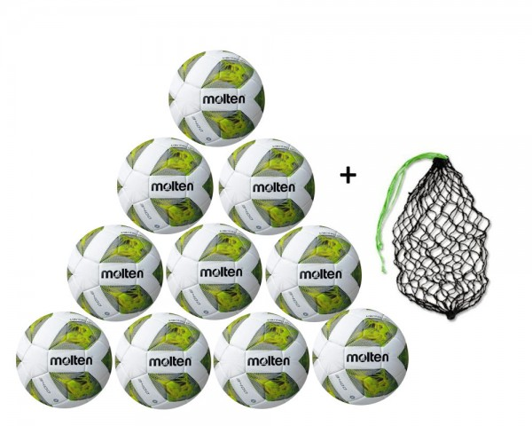 Molten Fußball FXA3400-G 10er Ballpaket inkl. Ballnetz