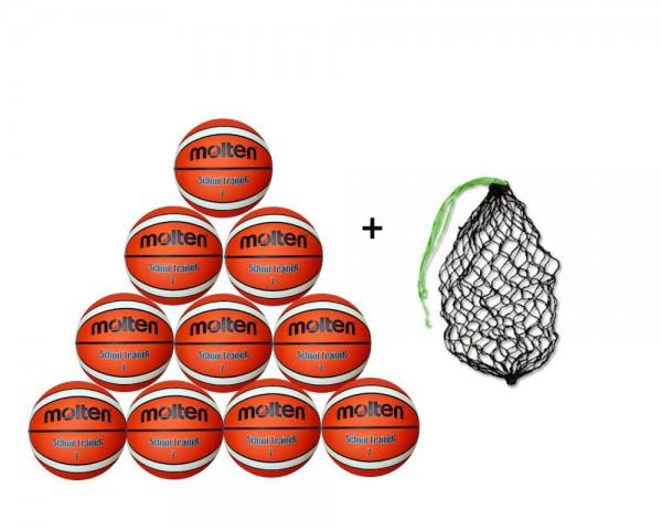 Molten Basketball BGXST- 10er Ballpaket inkl. Ballnetz