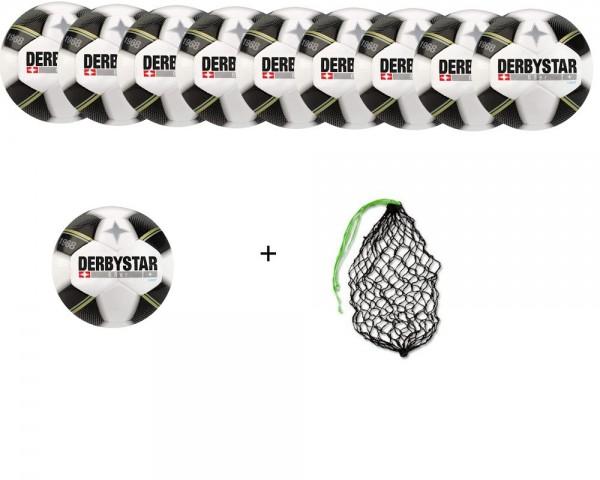 Derbystar Fußball 68er light-Ballpaket (10 Bälle) mit Netz