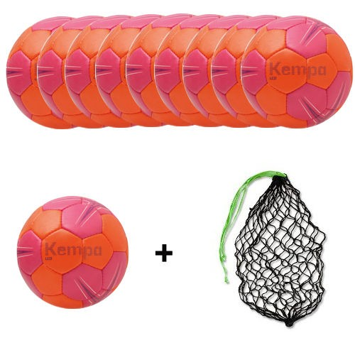 Kempa Handball Leo rose/carrot/purple Ballpaket (10 Bälle + Ballnetz)