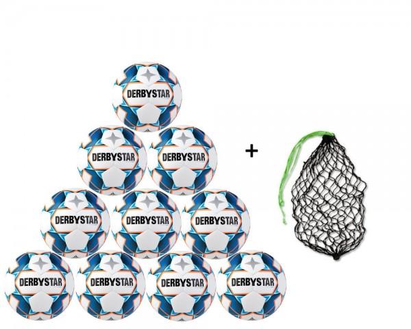 Derbystar Fußball Stratos Light Jugend-Trainingsball 10er Ballpaket inkl. Ballnetz