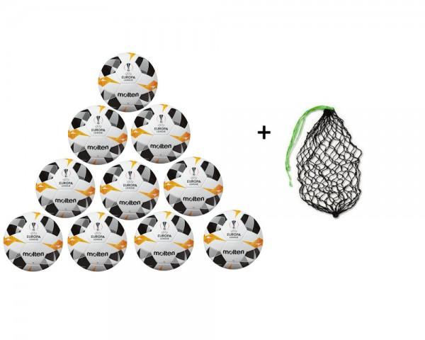 Molten Fußball Spielball UEL2019 Weiß/Orange/Schwarz Gr.5- 10er Ballpaket inkl Ballnetz
