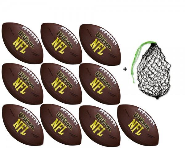 Wilson Football NFL Force Official Deflat WTF1455X - 10er Ballpaket inkl. Ballnetz