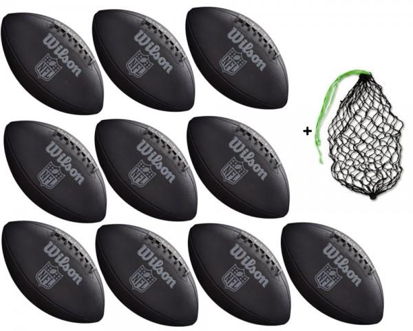 Wilson Football NFL Jet Black - 10er Ballpaket inkl. Ballnetz