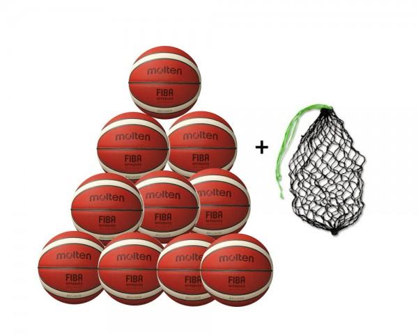 Molten Basketball BXG5000 - 10er Ballpaket mit Ballnetz