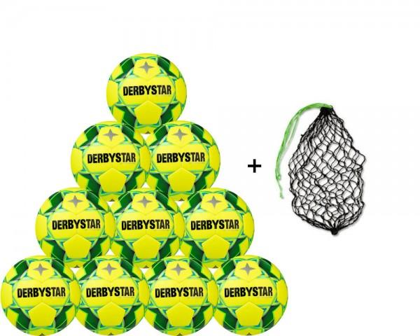 Derbystar Futsal Soft Pro Trainingsball 10er Ballpaket inkl. Ballnetz