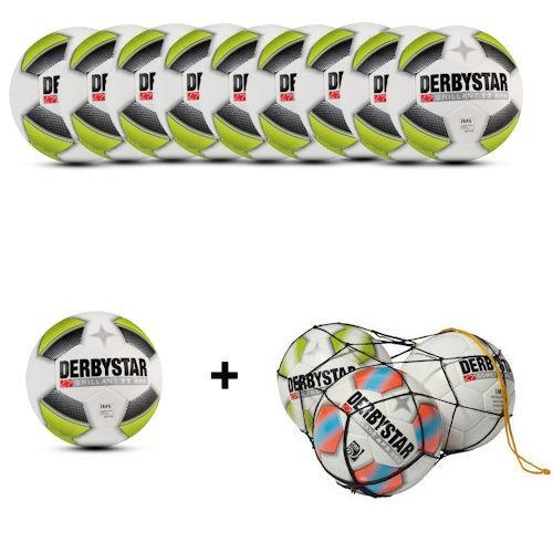 Derbystar Fußball Brillant TT schwarz/gelb dbb Gr. 5 Ballpaket (10 Bälle+Ballnetz)