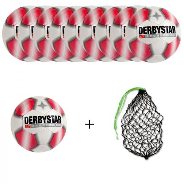 Derbystar Fußball Apus Pro S-Light Gr.3 Ballpaket (10 Bälle+Ballnetz)