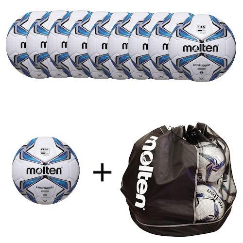 Molten Ballpaket Fußball F5V5000 (10 Bälle inklusive Balltasche)