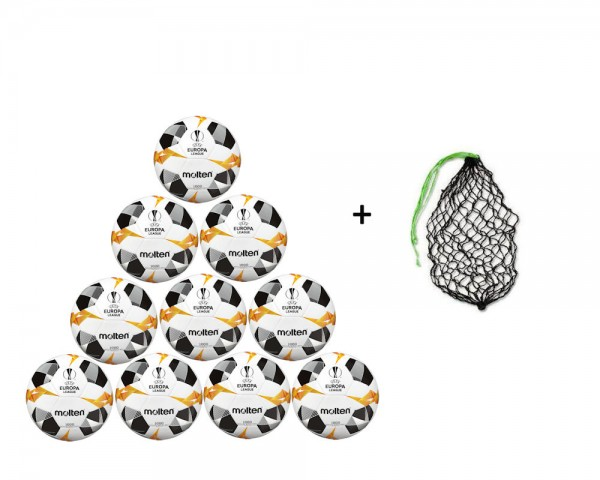 Molten Fußball Miniball Replica UEL 2019 Weiß/Orange/Schwarz Gr.1- 10er Ballpaket inkl Ballnetz