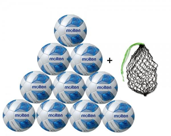 Molten Futsal Wettspielball F9A4800 10er Ballpaket inkl. Ballnetz