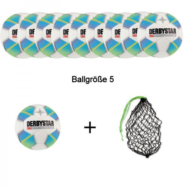 Derbystar Fußball Stratos Pro light Ballpaket (10 Bälle+Ballnetz)