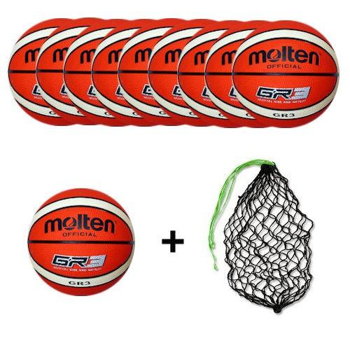 Molten Basketball BGR3-Ol Ballpaket (10 Bälle + Ballnetz)